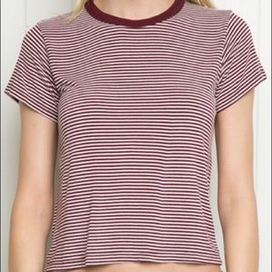 Brandy Melville Striped Tori Top Small Red White